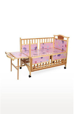 Brown Baby Wooden Cot with Swing Mosquito Net