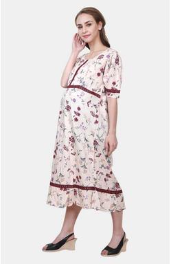Mee Mee Peach Printed Maternity Dress