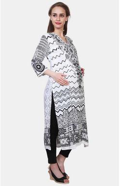 Mee Mee White Printed Maternity Kurta