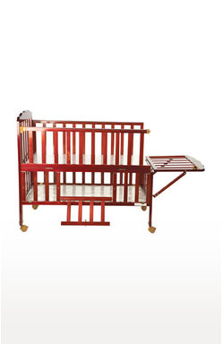 Maroon Baby Wooden Cot with Cradle, Swing and Mosquito Net