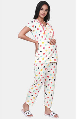 Mee Mee Off White Printed Maternity Nightsuit