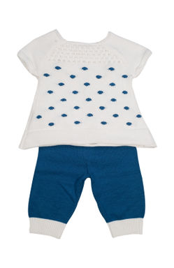 Mee Mee Full Sleeve Girls Legging Set (White_Blue)