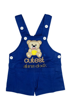 Mee Mee Short Sleeve Stripped Tee With Teddy Design Dungaree Set