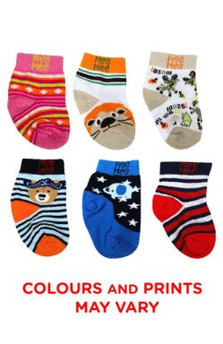 Mee Mee Cozy Feet Baby Socks (Pack of 6) (Colours May Vary) 6-12 months