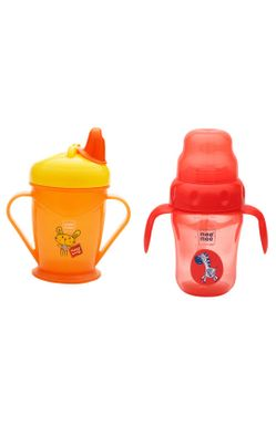 Mee Mee Easy Grip Sipper Cup with Twin Handle (180 ml, Red) and 2 in 1 Spout and Straw Sipper Cup (210ml, Orange)