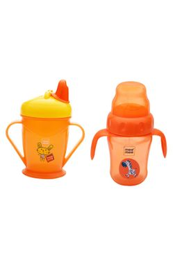 Mee Mee Easy Grip Sipper Cup with Twin Handle (180 ml, Orange) and 2 in 1 Spout and Straw Sipper Cup (210ml, Orange)