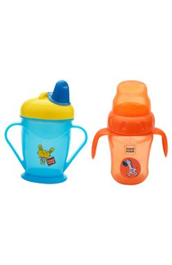 Mee Mee Easy Grip Sipper Cup with Twin Handle (180 ml, Orange) and 2 in 1 Spout and Straw Sipper Cup (210ml, Blue)