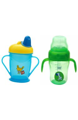 Mee Mee Easy Grip Sipper Cup with Twin Handle (180 ml, Blue) and 2 in 1 Spout and Straw Sipper Cup (210ml, Green)