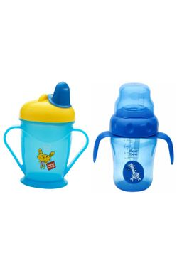 Mee Mee Easy Grip Sipper Cup with Twin Handle (180 ml, Blue) and 2 in 1 Spout and Straw Sipper Cup (210ml, Blue)
