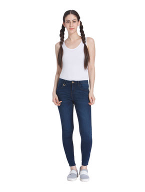 Blue Low Rise Skinny Fit Ankle Zip Jeans
