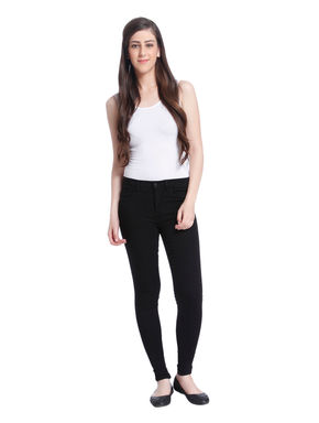 Black Regular Waist Skinny Jeans