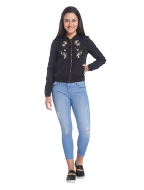 Solid/Embroidered Casual Jacket