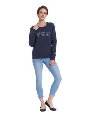 Blue Heart Print Sweater