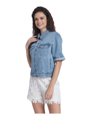 Blue Short Sleeves Denim Jacket