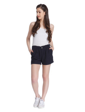 Blue Pleated Linen Shorts