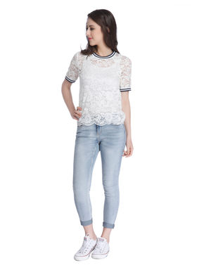White Jersey Lace Top