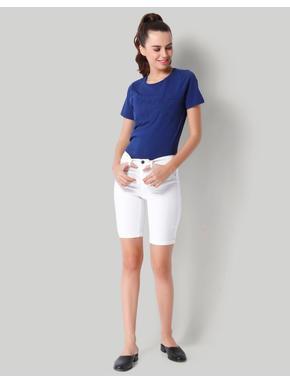 White Denim Long Mid Waist Shorts