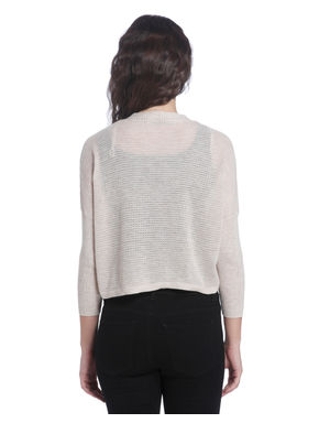 Beige Cropped Knitted Shrug With An Open Front