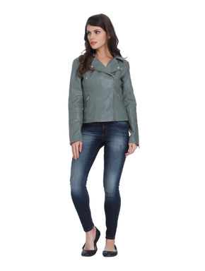 Agave Green Faux Leather Zipper Jacket