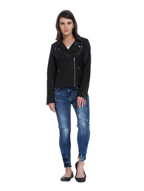 Black Faux Leather Zipper Jacket