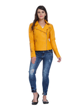 Yellow Faux Leather Zipper Biker Jacket