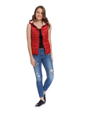 Red Quilted Sleeveless Jacket