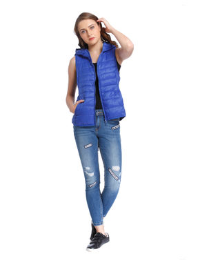 Blue Quilted Sleeveless Jacket