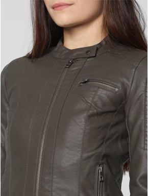Brown Front Zip Up Biker Jacket