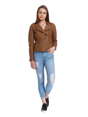 Brown Leather Cropped Jacket