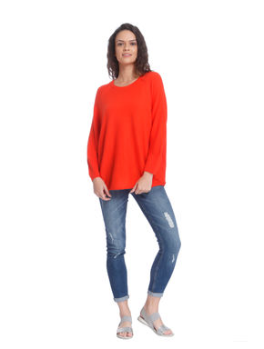 Orange Ribbed Loose Fit Pullover