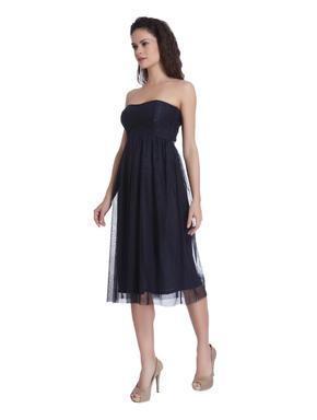 Navy Blue Tube Lace Dress
