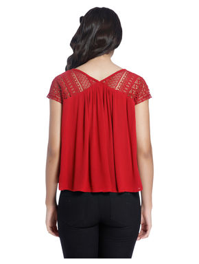 Solid/Lace Casual Top