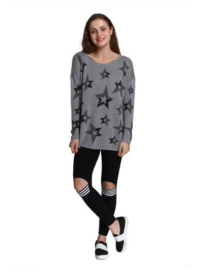 Light Grey Star Print Pullover
