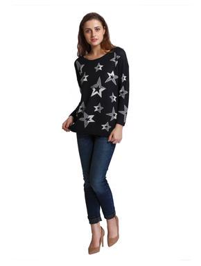 Dark Blue Star Print Pullover