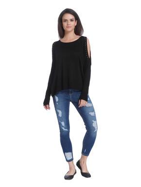 Black Embellished Cut Sleeves Pullover