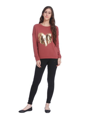 Red Heart Print Sweater