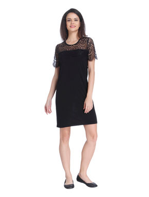 Black Lace Detail Shift Dress