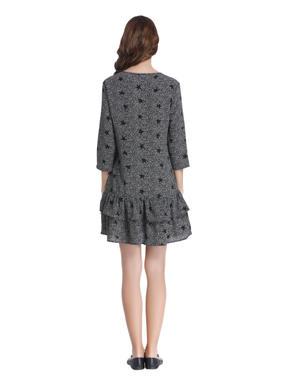 Black All Over Print Mini Dress