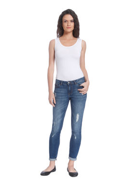 Blue Distressed Low Waist Slim Fit Jeans