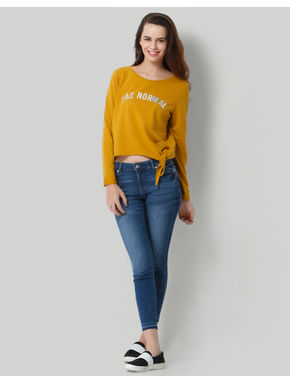 Mustard Text Print Sweatshirt