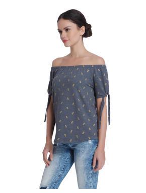 Grey Pineapple Print Off Shoulder Sweat Top