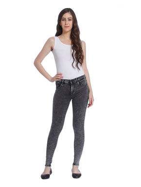 Grey Mid Rise Washed Ankle Length Skinny Fit Jeans