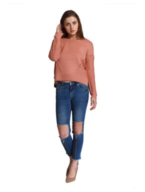 Peach Cable Knit Pullover