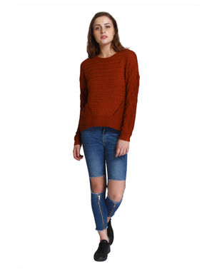 Deep Red Cable Knit Pullover