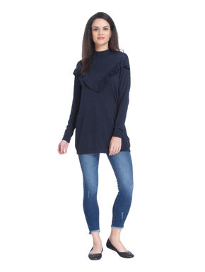 Blue Ruffle High Neck Pullover