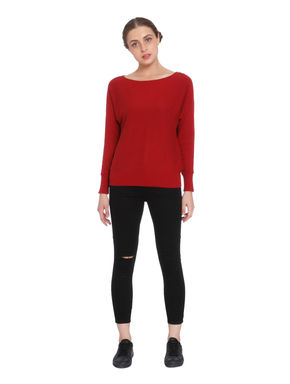 Red Keyhole Back Pullover