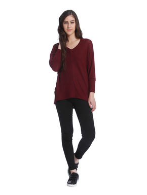 Maroon Loose Fit Pullover