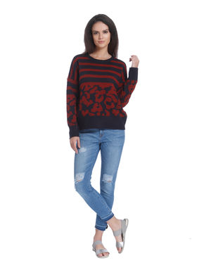Blue and Red Striped Pullover