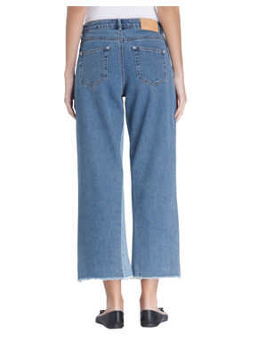 Blue High-Low Denim Culottes
