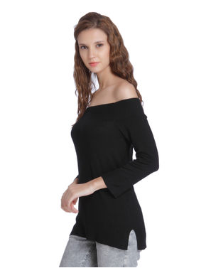 Black Off Shoulder Pullover